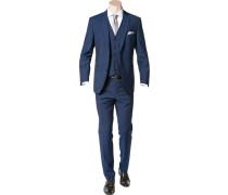 Herren Anzug mit Weste Modern Fit Schurwolle dunkelblau meliert