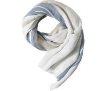 Herren  Schal Leinen offwhite-marineblau gestreift weiß
