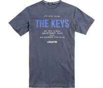 T-Shirt Baumwolle rauchblau meliert