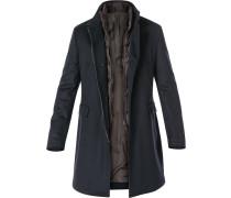 Mantel Schurwolle-Kaschmir wattiert nachtblau