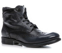 Herren Schuhe Stiefeletten Kalbleder anthrazit grau,schwarz
