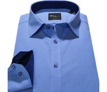 Herren Hemd Body Fit Popeline blau gemustert