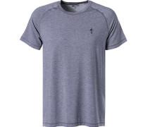 T-Shirt, Mikrofaser, rauchblau meliert