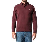 Herren Polo-Shirt Polo Baumwoll-Jersey bordeaux meliert rot