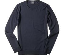 Pullover Merinowolle dunkelblau