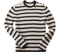 Herren Pullover Baumwolle marine gestreift blau