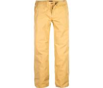 Herren Hose Regular Straight Fit Baumwolle Gelb gelb