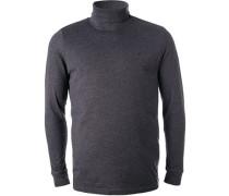 Pullover Rollkragen Regular Fit Baumwolle navy meliert