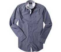 Hemd Modern Fit Twill jeansblau