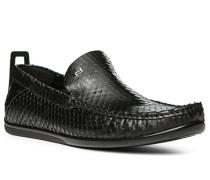 Herren Schuhe Slipper Leder schwarz schwarz,schwarz