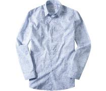 Hemd Fitted Popeline -blau gemustert