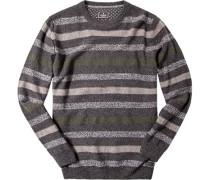 Pullover Merinowolle grau-grün gestreift
