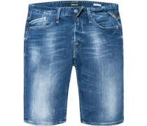 Jeansshorts Regular Slim Fit Baumwoll-Stretch 12,5oz denim
