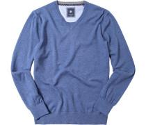 Herren Pullover Schurwoll-Baumwoll-Mix jeansblau