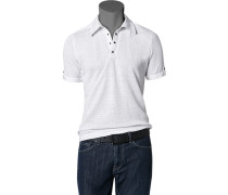 Herren Polo-Shirt Polo Leinen weiß