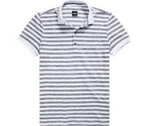 Polo-Shirt Polo, Baumwoll-Jersey, -weiß gestreift