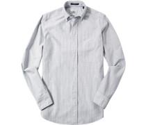 Hemd Regular Fit Baumwolle anthrazit-weiß gestreift