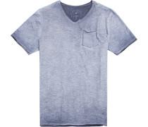 T-Shirt Modern Fit Baumwolle graublau meliert