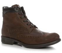 Herren Schuhe Stiefeletten Nubukleder braun braun,schwarz
