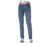 Chino-Hose Lou Regular Slim Fit Pima Baumwolle dunkelblau