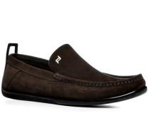 Schuhe Slipper, Veloursleder, kaffeebraun