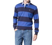 Polo-Shirt Polo Baumwoll-Jersey köngisblau-dunkelbau gestreift