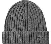 Herren   Mütze Kaschmir-Wolle mittelgrau meliert