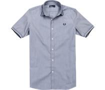 Hemd, Baumwolle, nachtblau-weiß meliert