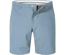 Hose Bermudashorts Modern Fit Baumwolle hellblau meliert