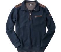 Herren Pullover Troyer Baumwoll-Mix marine blau