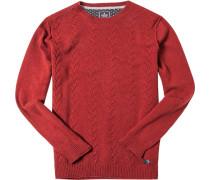 Pullover Merinowolle rotorange meliert
