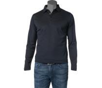 Herren Polo-Shirt Polo Baumwolle navy-schwarz meliert blau