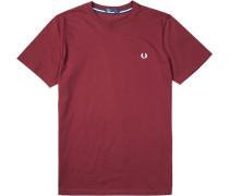 Herren T-Shirt Baumwolle bordeaux rot