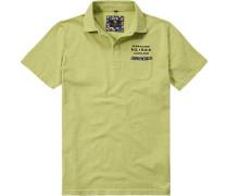 Polo-Shirt Polo Baumwoll-Jersey Limone meliert