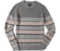Herren Pullover Wolle-Baumwoll-Mix grau-beige gestreift