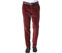 Herren Hose Cordhose Contemporary Fit Baumwoll-Stretch rubinrot