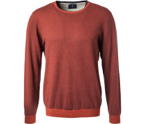 Pullover, Wolle-Baumwolle, rotbraun