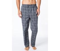Schlafanzug Pyjamahose Baumwolle hellgrau-dunkelgrau gemustert