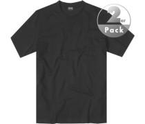 Herren  Rundhals-Shirt Doppelpack schwarz