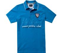 Herren Polo-Shirt Polo Baumwoll-Piqué türkis blau