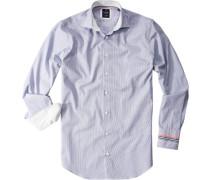 Hemd Tailor Fit Baumwolle jeansblau-weiß gestreift