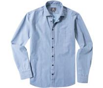 Hemd, Modern Fit, Popeline, hellblau-rot gemustert