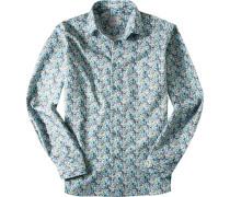 Herren Hemd Modern Fit Baumwolle grün gemsutert