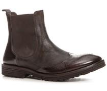 Herren Schuhe Chelsea Boots Glatt-Veloursleder-Mix dunkelbraun