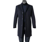 Mantel Parka Schurwolle-Kaschmir nachtblau