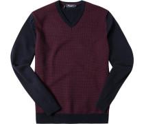Pullover Merinowolle extrafein dunkelblau-barolo gemustert