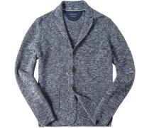 Cardigan Baumwolle nachtblau meliert