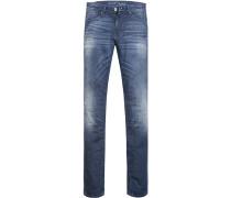 Jeans Slim Fit Baumwoll-Stretch jeansblau