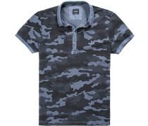 Polo-Shirt Polo Baumwoll-Piqué schwarz-rauchblau gemustert