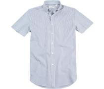 Hemd Regular Fit Baumwolle dunkelblau-weiß gestreift